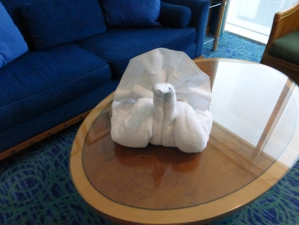 Housekeeping towel sculpture